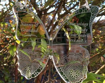 memory,Holiday place setting gift for bereavement dad grandparent Mom Butterfly Wings Personalized Memorial Ornament grief
