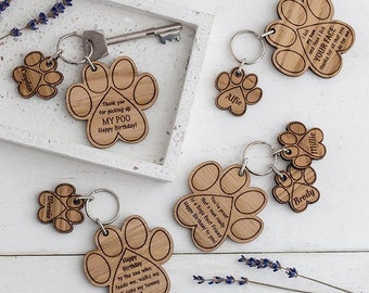 Gift From Your Dog Keyring Paw Print Charm Fathers Day Funny Husband Birthday Pet Engraved Wooden