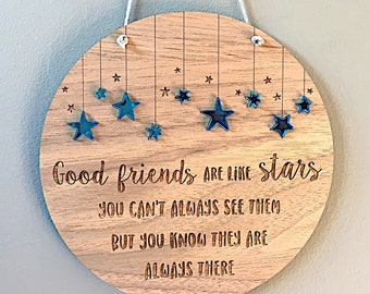 Good Friends Are Like Stars Plaque Best Friend Gift Birthday Handmade Wall Decor Room Long Distance Friendship