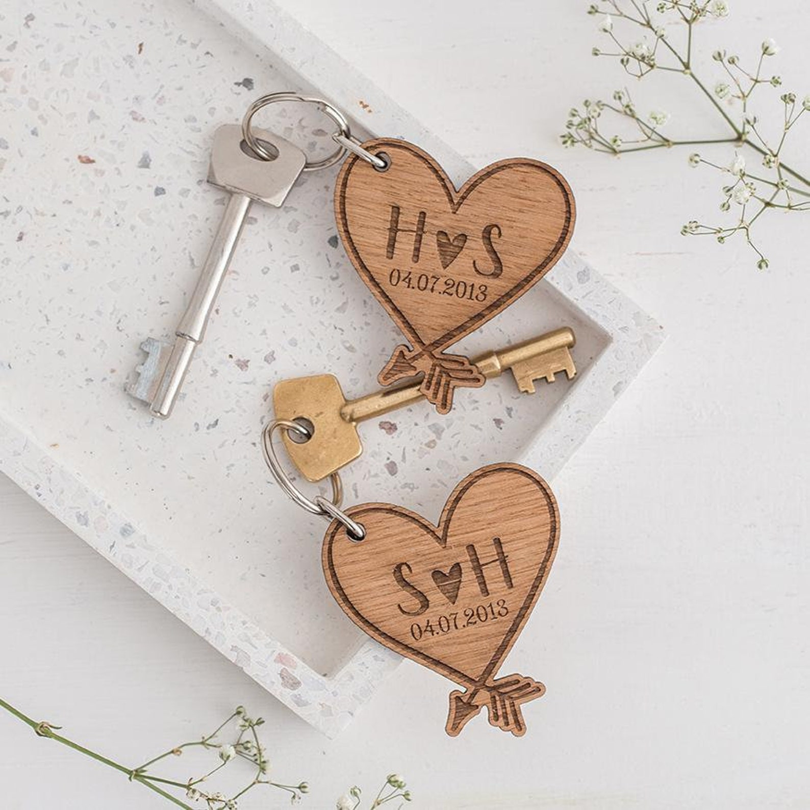 Wooden heart keychains