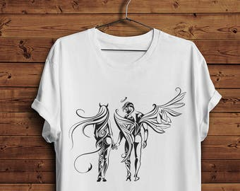 c379154221a7 Woman Girl Lady Devil Man Angel Saint Couple Love Passion T Shirt Tee |  Tattoo Sexy Erotic Tattoo Naked Nude Art (Men & Women T shirts)