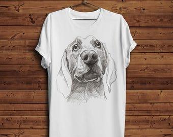 Beagle Hunting Dog Cute Drawn in Pencil T-shirt