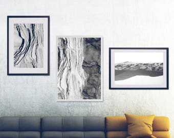 3 Black And White Photo Prints, Black And White Nature Wall Art Set, Abstract Landscape Printable Set, Extra Large Living Room Wall Decor