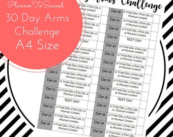 30 Day Arms Challenge, Workout Challenge, Beginner Workout, Fitness Tracker, New Years Resolution *ORIGINAL COLLECTION* PRINTABLE
