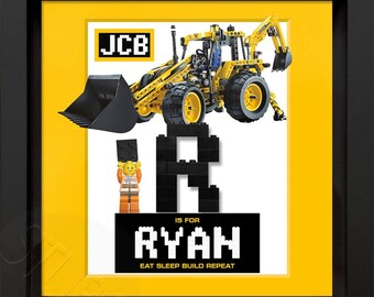 Lego JCB personalised picture frame with mini figure