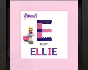 Lego Friends Personalised Name Picture Box Frame - 25h X 25h X 4.5cm deep