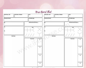 picture relating to Printable Nurse Report Sheets identified as Nurse post sheet Etsy