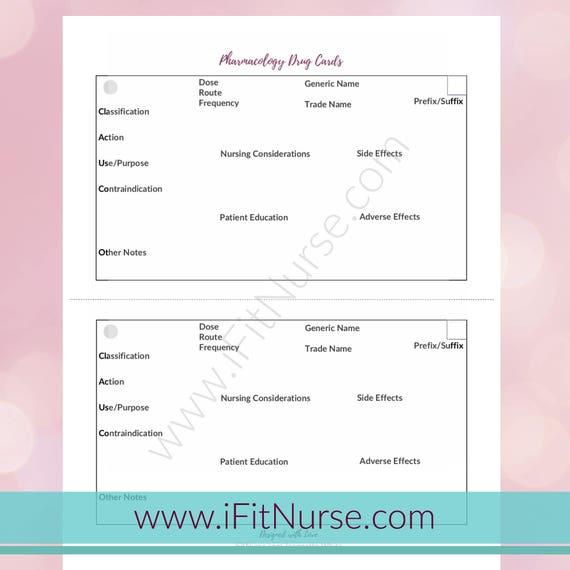 Pharmacology Drug Card Template