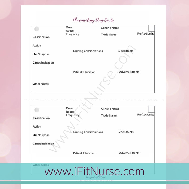 picture relating to Printable Nursing Reference Cards titled Pharmacology Drug Card Template