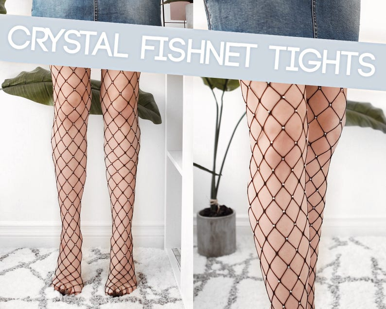 e690d83ea Crystal Fishnet Tights Large Net sparkly fishnets in