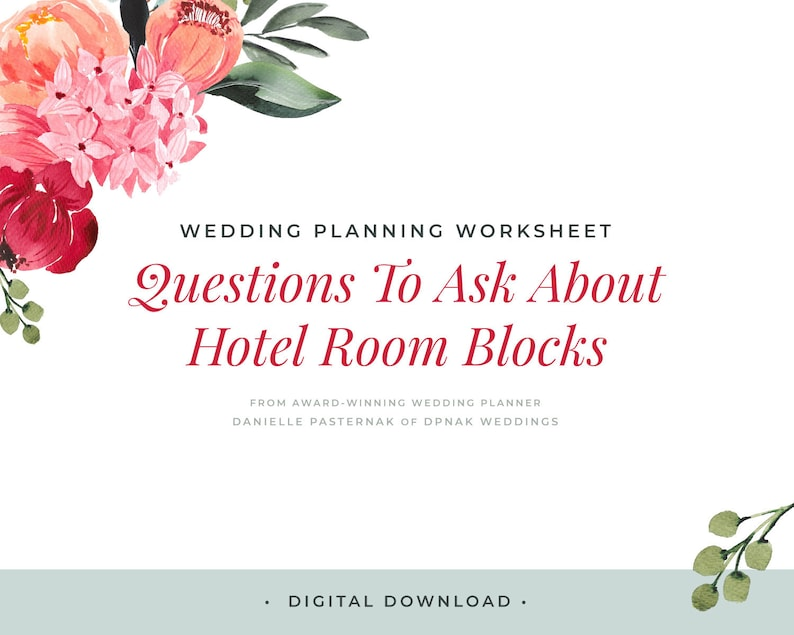 Wedding Planning Worksheet Download Printable Questions to Ask About Blocking Hotel Rooms