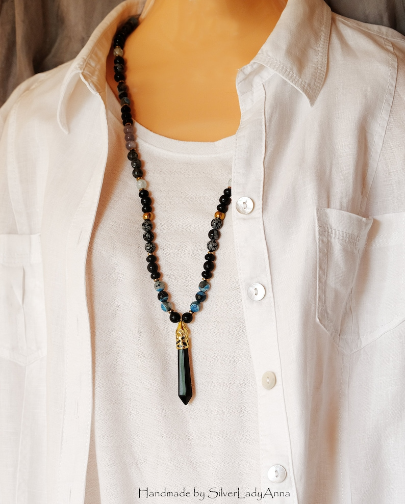 Present for sister Beaded Long boho witchy pendant necklace Long distance best friend gift Black jewelry for women Wiccan stone jewlery