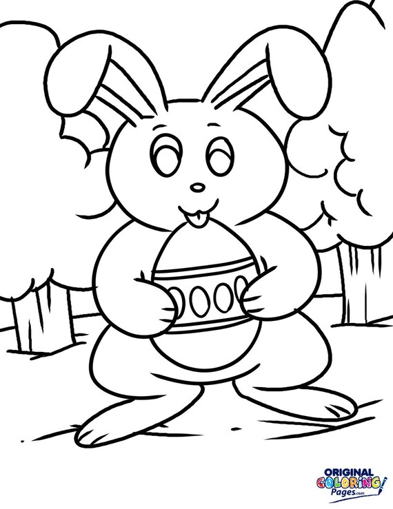 5 Easter Bunny Coloring Pages Coloring Pages for Adults | Etsy