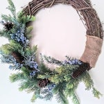 Winter Wreath, Farmhouse Decor, Rustic Holiday, Flocked Christmas Wreath, Flocked Wreath, Holiday Wreaths, Winter Door Decor, Front Door