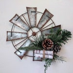 Farmhouse Christmas, Windmill Wall Decor, Rustic Wall Decor, Rustic Home Decor, Living Room Decor, Country Christmas, Metal Windmill, Winter