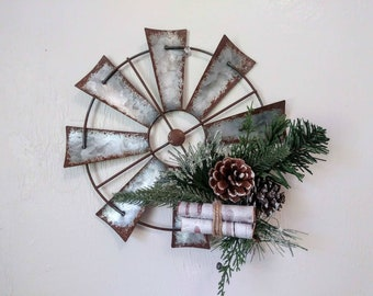 farmhouse christmas windmill wall decor rustic wall decor rustic home decor living room decor country christmas metal windmill winter - Farmhouse Christmas