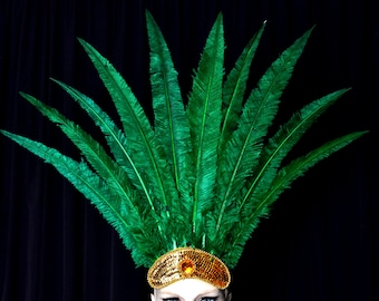 Emerald Green Carnival Feather Headdress Nandu