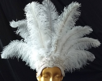 Carnival Feather Headdress- white feathers on a rhinestone crown