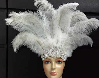 acf278bb4a1 New Crystal Carnival Feather Headdress- Floss ostrich feathers on a  rhinestone crown