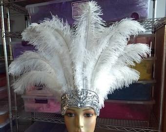 Ivory feather crown cocktail feather headband Ivory feather headpiece wedding headpiece  bridal feather tiaraburlesque headpiece