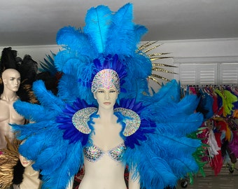 Beautiful Bohemian Flower Bra /& Feather Skirt Samba Showgirl Angel Pride Parade costume