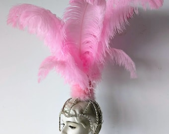 Samba headdress feather Piece Fantasy Fest Carnival Showgirl Headpiece Vegas showgirl Rumba Style