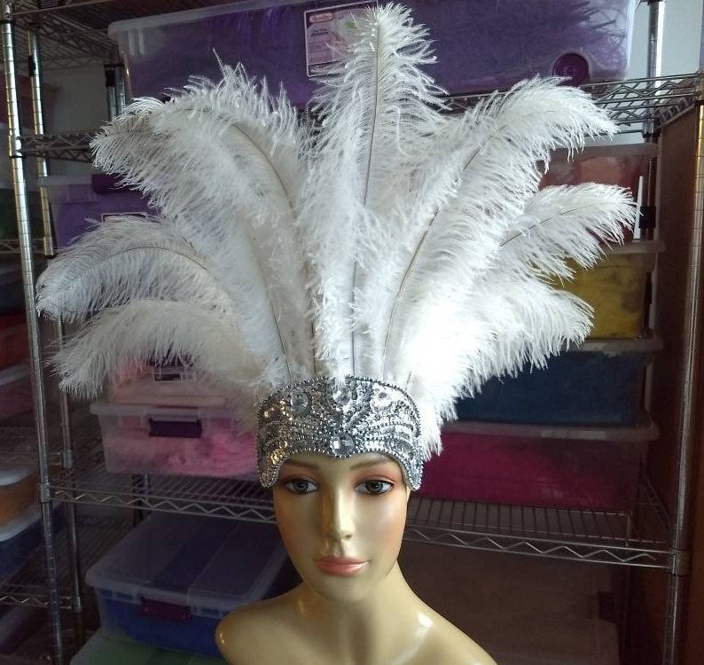 f79e81953c9 Carnival Feather Headdress ostrich floss feathers on a silver