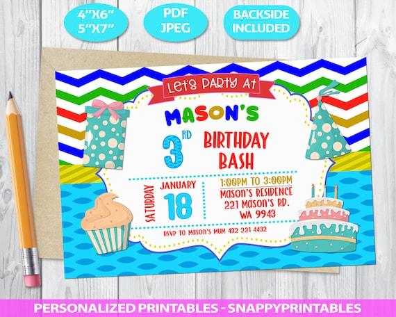 3rd Birthday Invitation Boy Third Invite