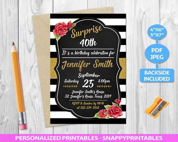 Surprise 40th Birthday Invitation Printable For Her Black Etsy