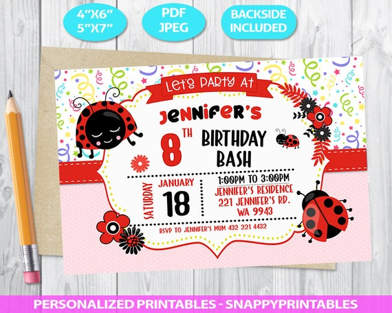 Lady Bug Birthday Invitation Printable