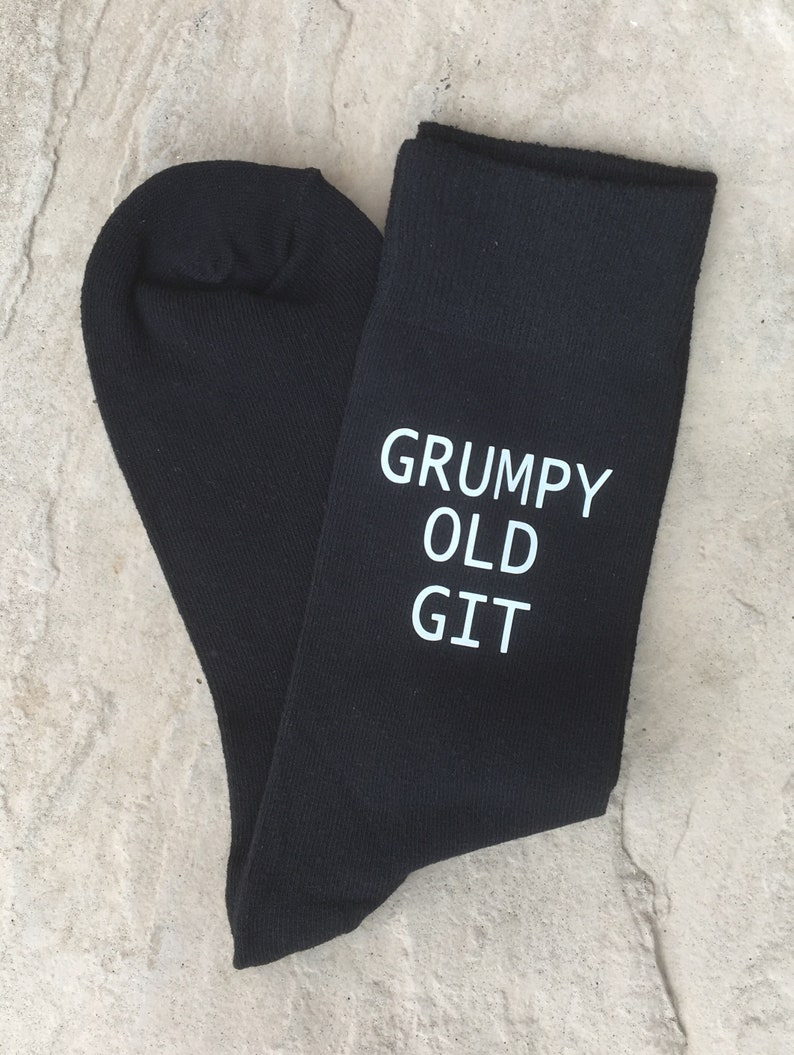 Grumpy Old Git Mens Black Novelty Socks Vinyl Printed Fathers Day Gift Christmas Gift Birthday Gift