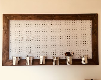 Rustic Wood Framed Pegboard | Farmhouse Pegboard