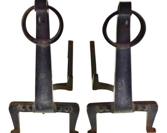 Brave Fantastic Black Vintage Hand Forged Wrought Iron Andirons Antiques