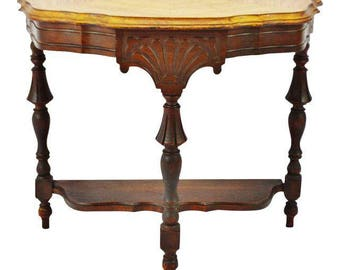 Art Deco Wood Demilune Accent Table