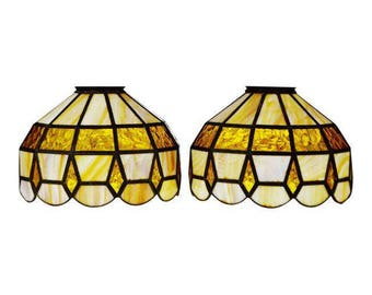 Stained glass lamp shade etsy vintage tiffany style stained glass lamp shades a pair aloadofball Gallery