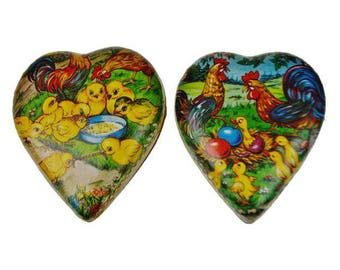 Vintage 1950's German Paper Mache Easter or Valentine's Candy Container - Set of 2