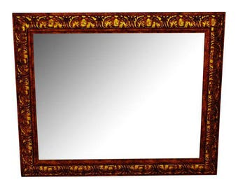 Decoratively Framed Bevelled Wall Mirror 34 x 28