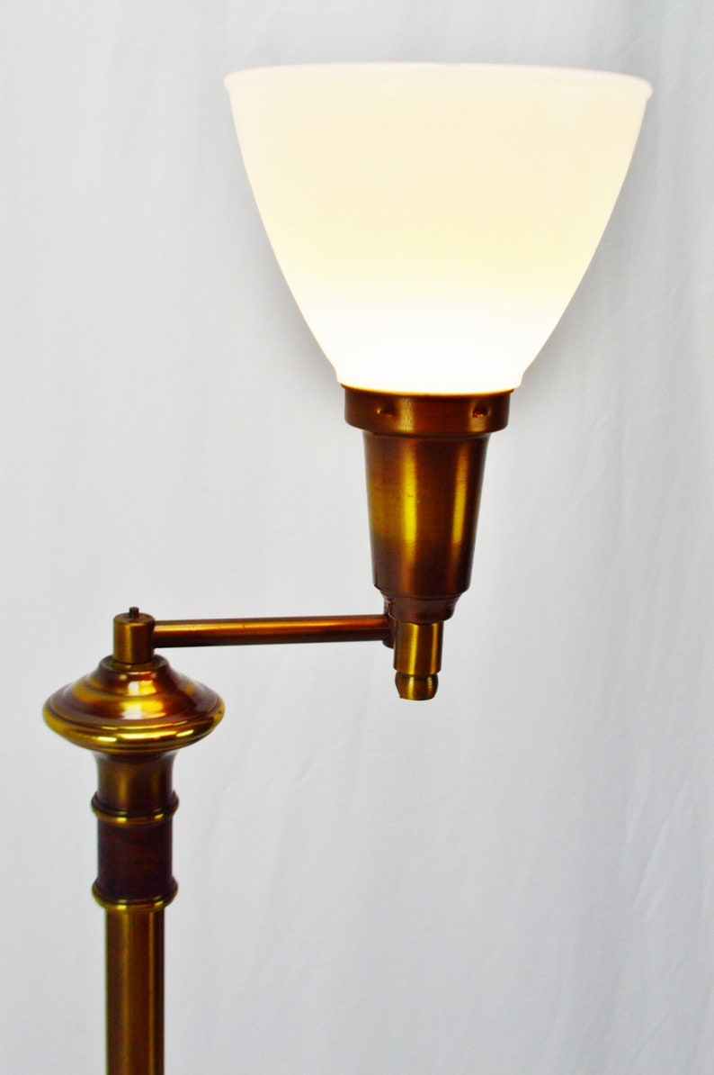Vintage Brass Swing Arm Torchiere Floor Lamp with Milk Glass Diffuser