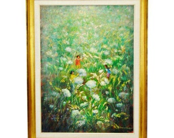 Vintage Framed Oil on Canvas Painting of Children Playing in Dandelion Field