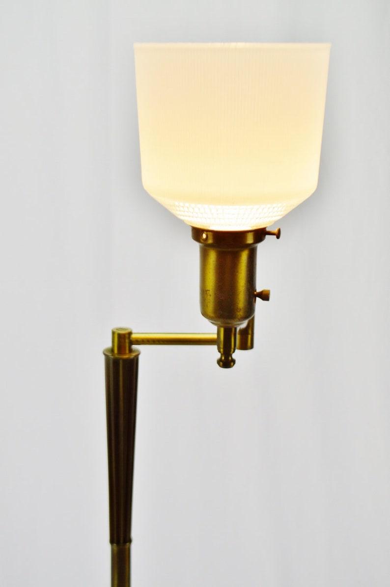 Art Deco Brass Swing Arm Floor Lamp with Diffuser