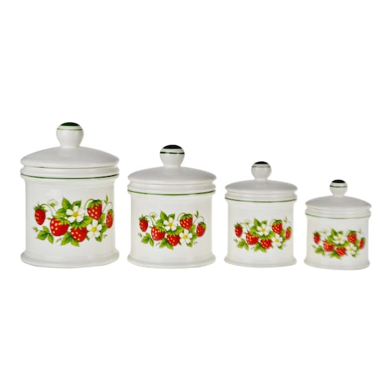 Vintage Sears Strawberry Country Kitchen Canisters - Set of 4