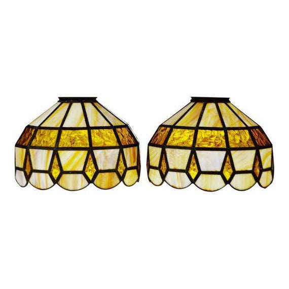 Antique Stained Glass Lamps.Vintage Tiffany Style Stained Glass Lamp Shades A Pair