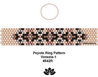 peyote ring pattern,pdf-download,DIY,instant download,ring #542R,2 variants,beading pattern,pattern design,ring design,pdf file