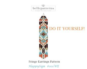 beaded earrings pattern,#001WE-DIY,fringe earrings pattern,brick stitch,ladder stitch,pdf-download,beading pattern,earrings pattern pdf,