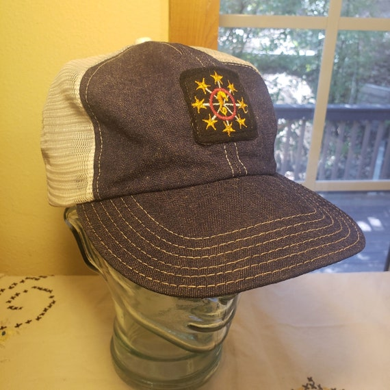 Seahorse Vintage 8 Gold Star Denim Trucker Hat
