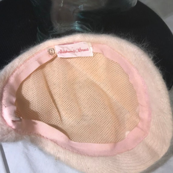 Vintage Abraham & Strauss 1940's Pink Hat with Em… - image 7