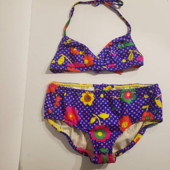 Vintage Mickies Bikini Floral Polka Dot Bikini Set