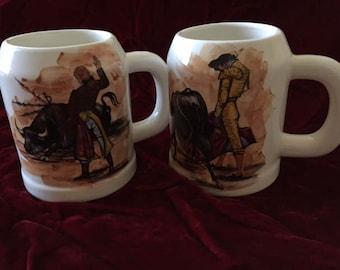 Lofisa Guadalajara Two Heavy Bullfight Mugs
