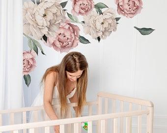 floral rose flower  Wall  Decal floral Vinyl Decor Nursery Decal Baby Wall Decal  Art Decal  Bedroom Decor Vinyl bathroom decal 012