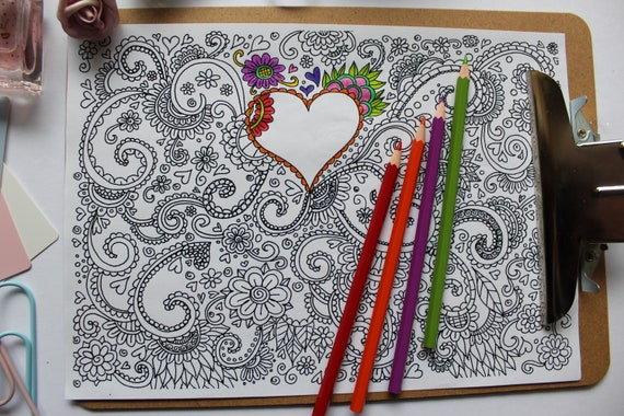 Swirly heart coloring page love heart adult coloring page Etsy